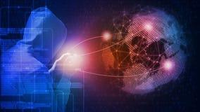 3D rendering Globalny cyber ataka pojęcie Hacker używa komputerowego programowania telefon komórkowego i wiedzę royalty ilustracja