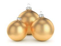 3D rendering gold Christmas ball Stock Photos