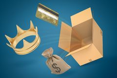 3d rendering of gold crown, credit card, canvas money bag and empty brown cardboard box on blue gradient background. Wealth and power. Money and finance. Earn royalty free illustration