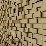3d rendering of gold cubic random level background. 3d rendering of acstract gold cubic random level background Stock Image