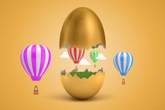 3d rendering of gold egg cracked in two, lower half with green grass inside, upper half in air, with several hot-air. Balloons flying around. Creative concepts stock photo