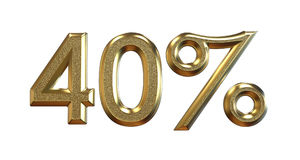 3d rendering. Gold percentages on a white background. vector illustration