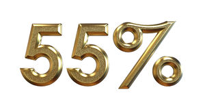 3d rendering. Gold percentages on a white background. Stock Image