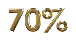 3d rendering. Gold percentages on a white background. Royalty Free Stock Image