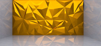 3D rendering of  gold polygon wall in marble room. And reflection Stock Image