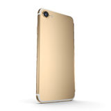 3D rendering gold smart phone with black screen Royalty Free Stock Photography