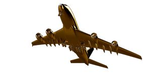 3d rendering of a golden airplane on isolated on a white backgro. Und Stock Image