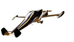 3d rendering of a golden airplane on isolated on a white backgro. Und Royalty Free Stock Images