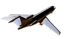 3d rendering of a golden airplane on isolated on a white backgro. Und Royalty Free Stock Image
