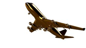 3d rendering of a golden airplane on isolated on a white backgro. Und Royalty Free Stock Photos