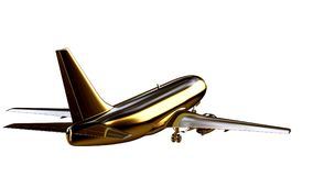 3d rendering of a golden airplane on isolated on a white backgro. Und Royalty Free Stock Photo