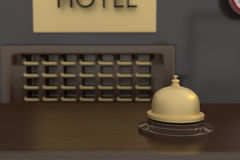 3D rendering of golden bell at hotel reception. 3D rendering of a golden bell at hotel reception Royalty Free Stock Photo
