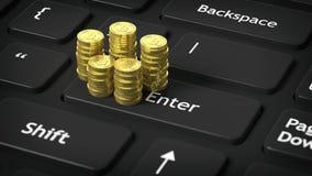 3D rendering of golden Bitcoin stacks on black computer's Stock Image