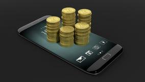 3D rendering of golden Bitcoin stacks on smartphone's screen Stock Photos