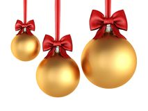 3D rendering golden Christmas balls with red ribbon and bow Royalty Free Stock Image