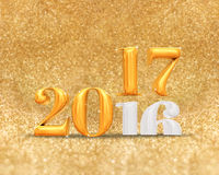 3d rendering golden color 2016 number year change to 2017 year a. T golden sparkling glitter room background,Holiday greeting card Stock Photo