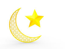 3d rendering of golden crescent and star Stock Images