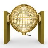 3D rendering golden lottery cage Royalty Free Stock Images