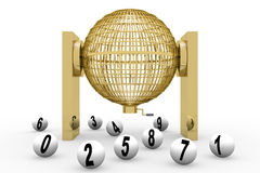 3D rendering golden lottery cage Stock Images