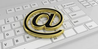 3d rendering golden mail symbol on a keyboard Stock Image