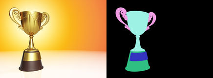 3d rendering golden metallic trophy cup firstplace winner award. Golden metallic trophy cup first place winner award on golden tone with color id for fully edit Royalty Free Stock Photo