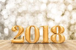 2018 3d rendering golden new year number in perspective room wit. H sparkling bokeh wall and wooden plank floor,leave space for adding your content Stock Images