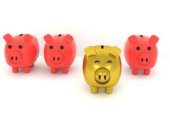 3D rendering of Golden piggy bank among the normal piggy banks. 3D rendering of Golden piggy bank standing out from the others Stock Images