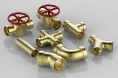 Pipe joint and valve. 3d rendering golden pipe with pipe joint and valve Stock Photography