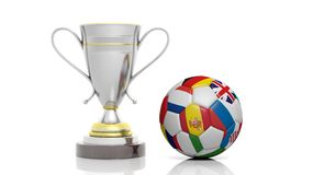 3d rendering of a Golden Silver trophy and soccer ball. Isolated on white vector illustration