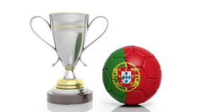 3d rendering of a Golden Silver trophy and soccer ball. Isolated on white royalty free illustration