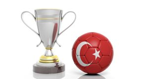 3d rendering of a Golden Silver trophy and soccer ball. 3d rendering of a  Golden Silver trophy and soccer ball isolated on white Stock Photo
