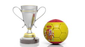 3d rendering of a Golden Silver trophy and soccer ball. Isolated on white stock illustration