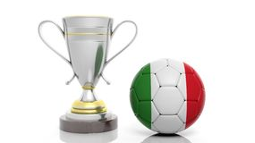 3d rendering of a Golden Silver trophy and soccer ball. 3d rendering of a  Golden Silver trophy and soccer ball isolated on white Stock Photos