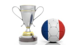3d rendering of a Golden Silver trophy and soccer ball. 3d rendering of a  Golden Silver trophy and soccer ball isolated on white Stock Photography