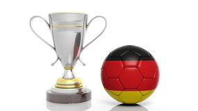 3d rendering of a Golden Silver trophy and soccer ball Royalty Free Stock Photography