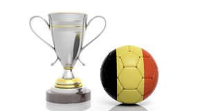3d rendering of a Golden Silver trophy and soccer ball. Isolated on white with Belgium flag Royalty Free Stock Photo