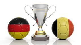 3d rendering of a Golden Silver trophy and soccer ball Royalty Free Stock Photos