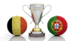 3d rendering of a Golden Silver trophy and soccer ball. 3d rendering of a  Golden Silver trophy and soccer ball isolated on white with Belgium and portugal flag Stock Photo