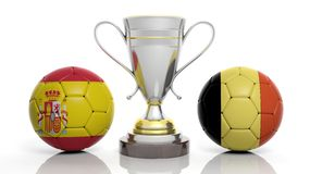 3d rendering of a Golden Silver trophy and soccer ball. 3d rendering of a  Golden Silver trophy and soccer ball isolated on white with Belgium and Spain flag Stock Images