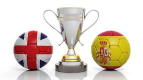 3d rendering of a Golden Silver trophy and soccer ball. Isolated on white with Belgium and Spain flag stock illustration