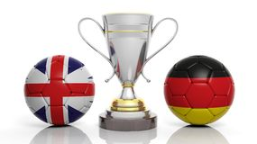 3d rendering of a Golden Silver trophy and soccer ball Royalty Free Stock Photo