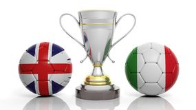 3d rendering of a Golden Silver trophy and soccer ball. 3d rendering of a  Golden Silver trophy and soccer ball isolated on white with England,  and Italy flag Stock Photography