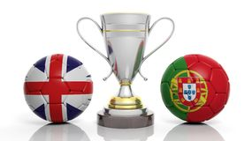 3d rendering of a Golden Silver trophy and soccer ball. Isolated on white with England and portugal flag royalty free illustration