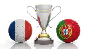 3d rendering of a Golden Silver trophy and soccer ball. 3d rendering of a  Golden Silver trophy and soccer ball isolated on white with France and portugal flag Stock Photography