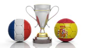 3d rendering of a Golden Silver trophy and soccer ball. 3d rendering of a  Golden Silver trophy and soccer ball isolated on white with France and Spain flag Stock Images