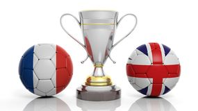 3d rendering of a Golden Silver trophy and soccer ball. 3d rendering of a  Golden Silver trophy and soccer ball isolated on white with France and UK flag Royalty Free Stock Image