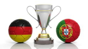 3d rendering of a Golden Silver trophy and soccer ball. 3d rendering of a  Golden Silver trophy and soccer ball isolated on white with Germany  and portugal flag Royalty Free Stock Photo