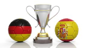 3d rendering of a Golden Silver trophy and soccer ball. 3d rendering of a  Golden Silver trophy and soccer ball isolated on white with Germany and Spain flag Royalty Free Stock Photos