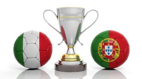 3d rendering of a Golden Silver trophy and soccer ball. Isolated on white with Italy and portugal flag royalty free illustration