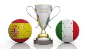 3d rendering of a Golden Silver trophy and soccer ball. Isolated on white with Spain and Italy flag stock illustration